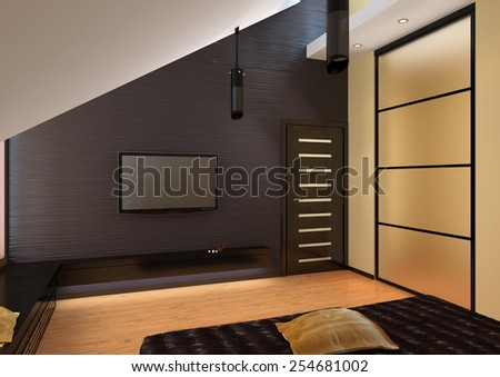3d rendering of penthouse living room tv console - stock photo