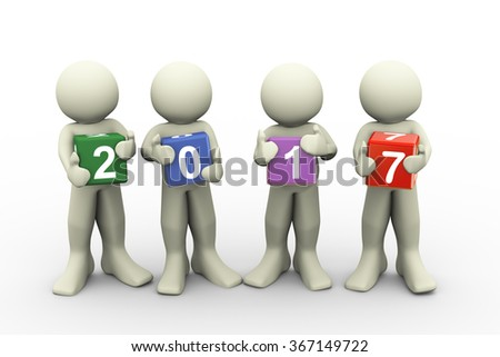 3d rendering of people holding colorful text box of new year 2017.  - stock photo