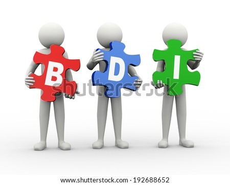 3d rendering of people holding puzzle pieces of brand development index. 3d white people man character.