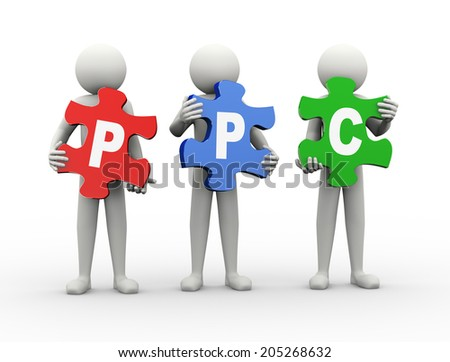 3d rendering of people holding puzzle pieces of ppc - pay per click. 3d white people man character.