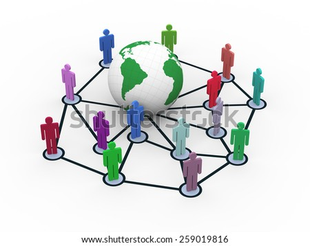 3d rendering of people network around globe. Concept of global business network - stock photo