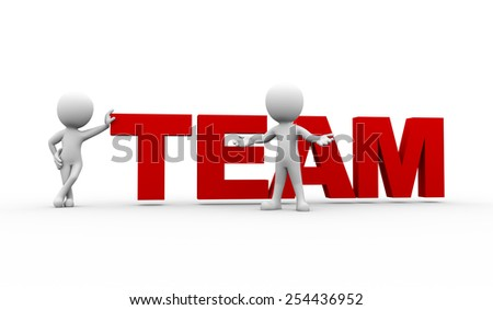 3d rendering of people with word text team. 3d white person people man