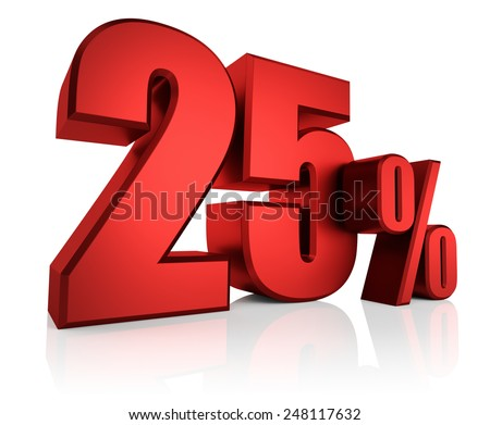 3D rendering of 25 percent in red letters on white background with shadow - stock photo