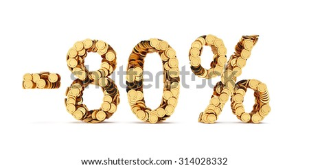 3d rendering of 80 percent price cut off. Golden discount coins letters isolated on white background - stock photo