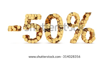 3d rendering of 50 percent price cut off. Golden discount coins letters isolated on white background