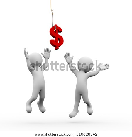 3d rendering of perople catching dollar sign symbol attached to a fishing hook. 3d white person people man.