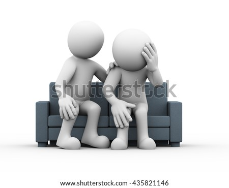 3d rendering of person consoling and comforting support to sad frustrated depressed man sitting on sofa.