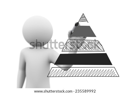 3d rendering of person drawing scriblle pyramid sketch with marker on transparent glass screen. 3d white people character - stock photo