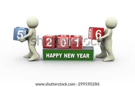 3d rendering of person placing digit 6 cube of happy new year 2016 . - stock photo