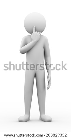 3d rendering of person showing silence gesture with his forefinger by mouth. Concept of big secret. 3d white people man character.
