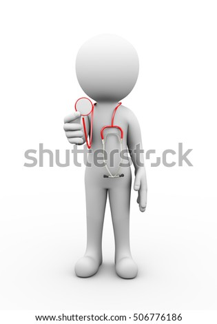 3d rendering of physician doctor with medical stethoscope. 3d white people man character