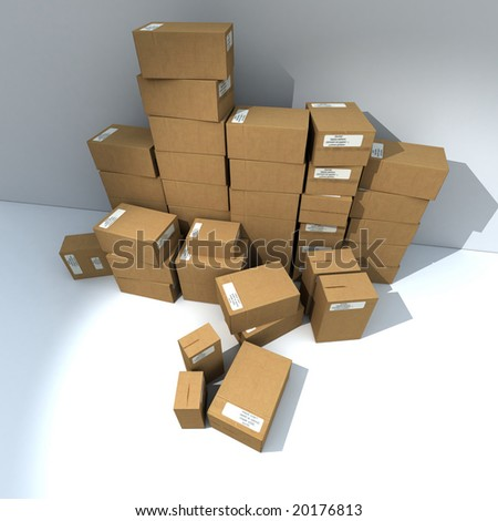 3D rendering of Piled up cardboard boxes with white labels - stock photo