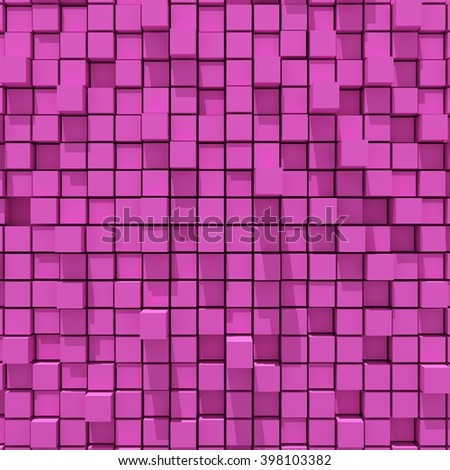 3d rendering of pink cubic random level background.