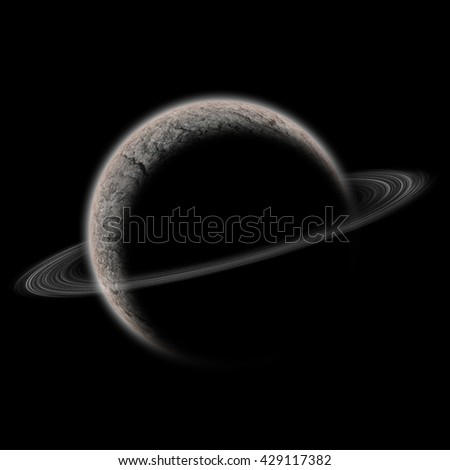 3D rendering of planet in space with sun and shadow