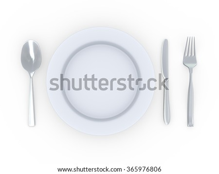 3d rendering of plate with fork, spoon and knife