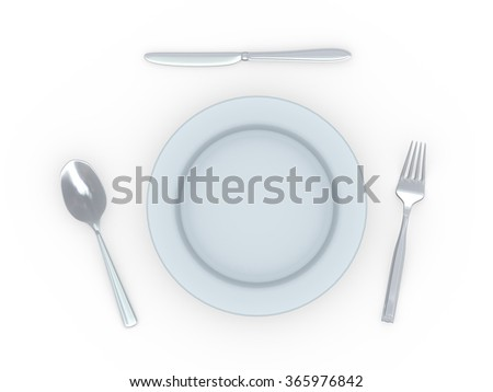 3d rendering of plate with knife, fork and spoon