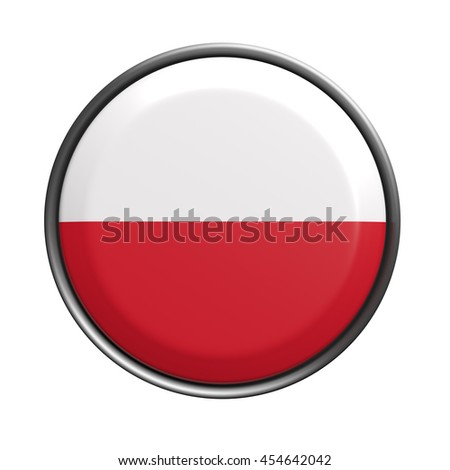 3d rendering of Poland  button on white background. - stock photo