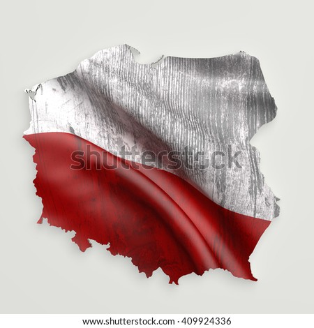 3d rendering of Poland map and dirty flag on white background. - stock photo