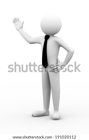 3d rendering of pose of business person presentation gesture. 3d white people man character.