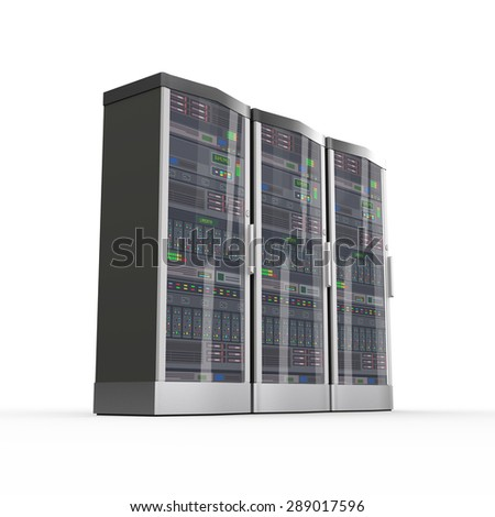 3d rendering of powerful three computer network servers system machine - stock photo