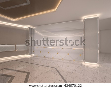 3D Rendering of reception glass window gold illustration
