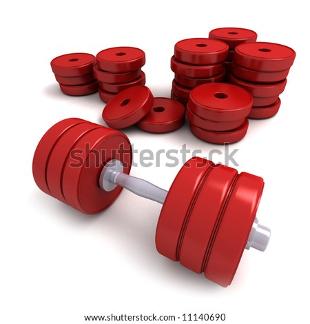 3D-rendering of red dumbbells and a pile of weights lying on a white décor