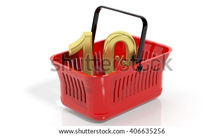 3D rendering of red shopping basket with golden 10% discount symbol, isolated on white. - stock photo