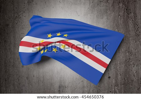 3d rendering of Republic of Cape Verde flag waving on a dirty background