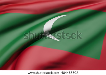 3d rendering of Republic of Maldives flag waving