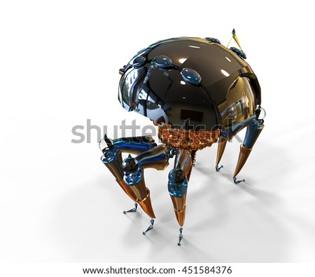 3d rendering of robot spider with their chrome plated metal parts isolated on white