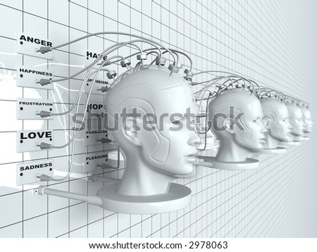 3D rendering of robotic heads on a wall - stock photo