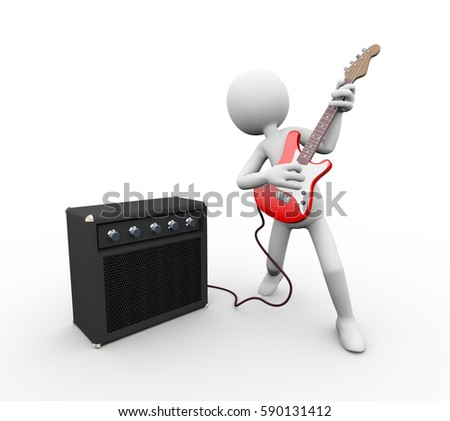 3d rendering of rock guitarist with amp speaker rig playing electric guitar. White person people man illustration.