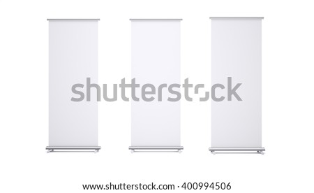 3D rendering of roll up banners with paper canvas texture. Isolated on white background