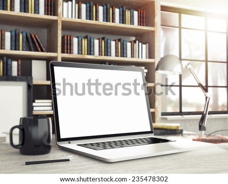 3d rendering of room with laptop - stock photo