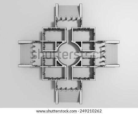 3d rendering of Rotonda's model horizontal section cartoon style - stock photo