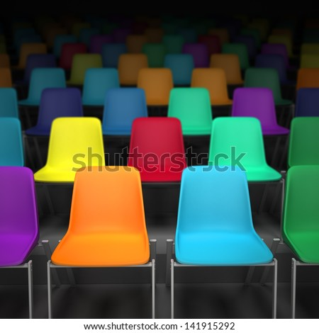 3D rendering of rows of colorful chairs - stock photo