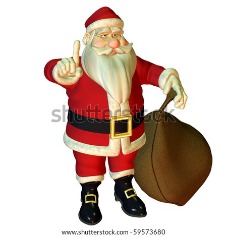 3d rendering of Santa Claus in attention pose as illustration - stock photo