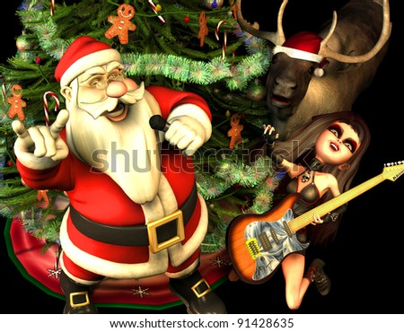 3d rendering of Santa Claus with heavy metal greeting with a Christmas tree reindeer and guitarist in comic style - stock photo