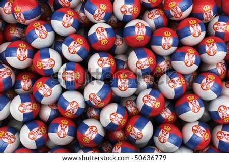 3d rendering of Serbian soccer balls. Perfect for background - stock photo