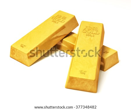 3d rendering of shiny gold bullions isolated over white background  - stock photo