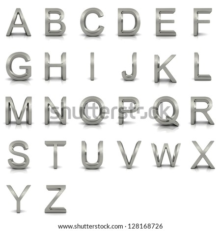 3D rendering of silver alphabet. - stock photo