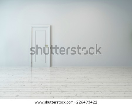 3d Rendering of Simple Single White Door on Plain White Wall, Captured Inside an Empty Building. - stock photo