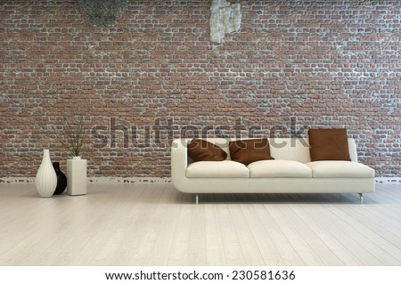 3D Rendering of Single Off White Love Seat with Brown Square Pillows at Architectural Living Room with Vase Decorations and Vintage Brick Wall Design. - stock photo