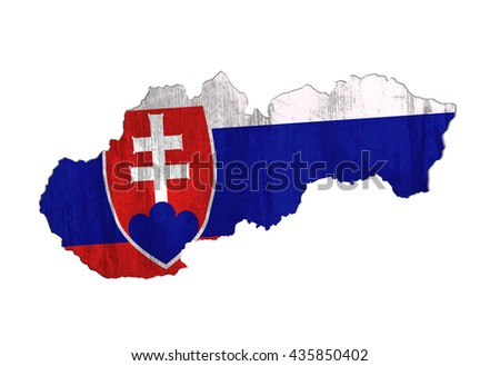 3d rendering of Slovakia map and dirty flag on white background.