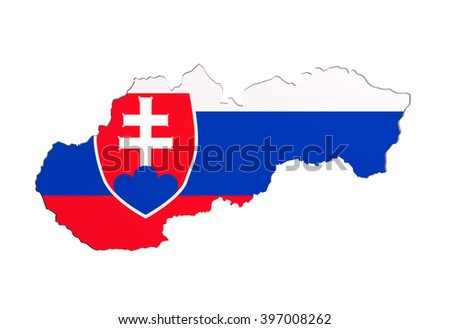 3d rendering of Slovakia map and flag on white background.