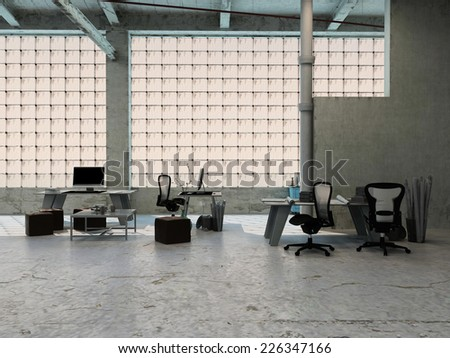 3D Rendering of Small office area in an industrial loft with tables, stools, chairs and equipment arranged in front of large windows - stock photo