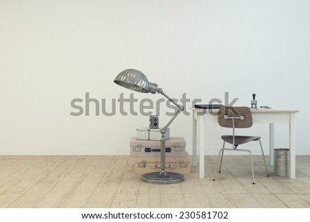 3D Rendering of Small simple work area with a table and chair , a standard lamp and vintage suitcases on the floor in a white painted room with wooden floor and copyspace in a modern interior design - stock photo