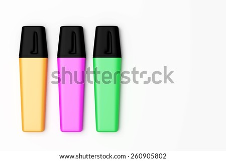 3d rendering of some colored marking pens
