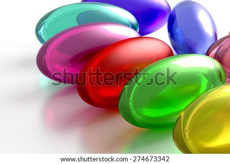 3d rendering of some colored pills