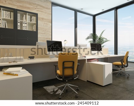 3D Rendering of Spacious work environment in a modern office with work stations at a long table overlooked by a large glass window with views of the sky - stock photo